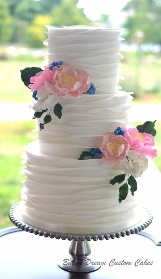 Ruffled wedding cake by Elisabeth Palatiello - http://cakesdecor.com/cakes/293762-ruffled-wedding-cake