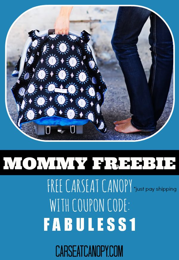 I can't believe this is FREE!  Preferct for baby showers... it's a FREE car seat canopy to keep your baby covered and mommy stylish. Coupon code is FABULESS1  - click on pin for product review and more free stuff for moms.  www.FabulesslyFrugal.com