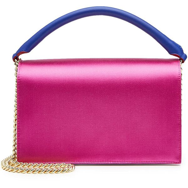 Diane von Furstenberg Soiree Crossbody Satin Bag ($415) ❤ liked on Polyvore featuring bags, handbags, shoulder bags, multicolored, pink shoulder bag, multi coloured handbags, pink purse, colorful crossbody purses and multicolor handbags