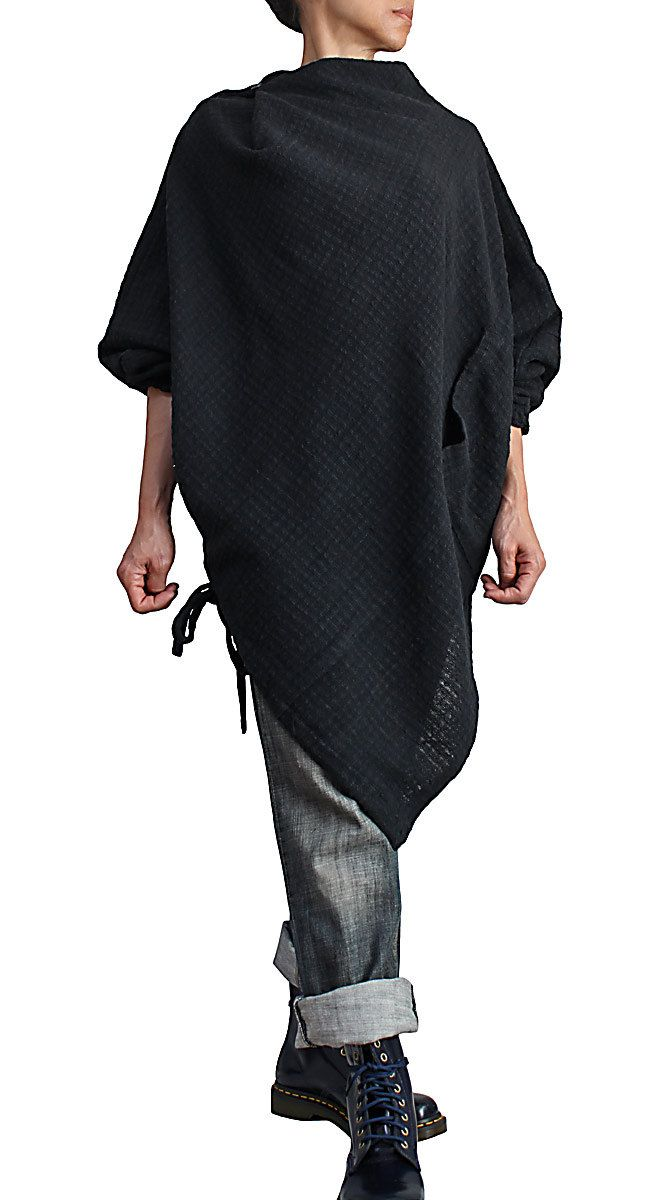 Hand Woven Cotton Poncho Tunic (BFS-139-01) (9990.00 JPY) by SawanAsia
