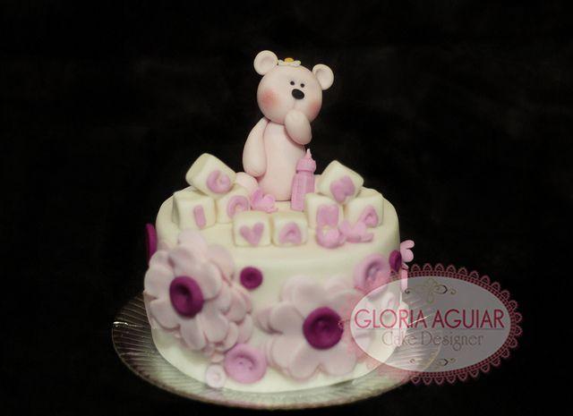 mini bolo 1 mês nascida, ursinho baby