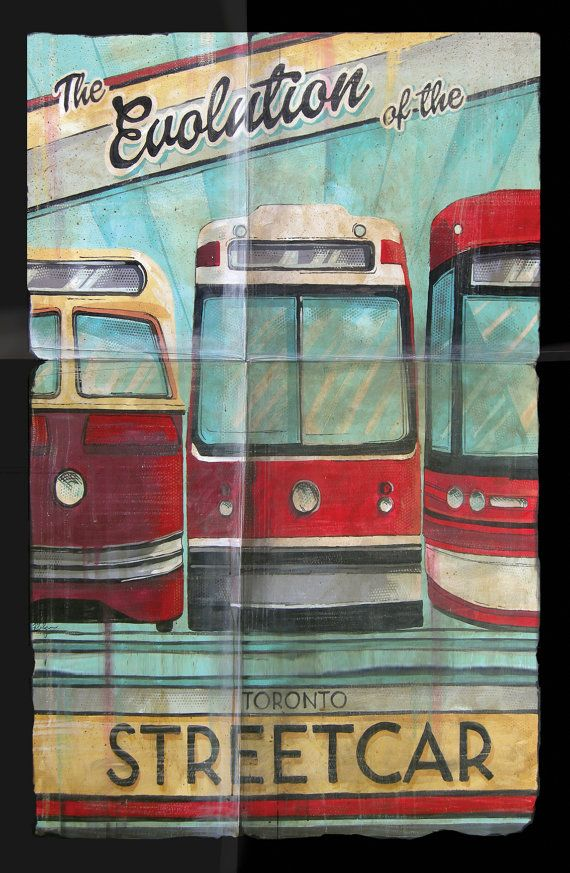 ADMIT IT. YOU LOVE THE #TTC #STREETCAR!  This original painting has 3 generations of TTC streetcars in it! For 3 bucks - you can't go wrong! ;-) #vintagepostcard