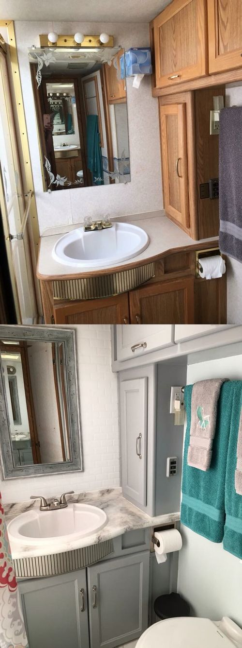 Add some paint and wala and new bathroom look in an RV.