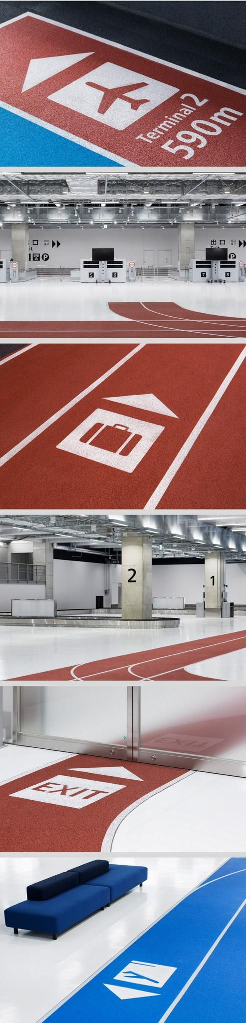 Colour-coded running tracks at Narita Airport, Japan. Click image for link to full profile and visit the slowottawa.ca boards >> http://www.pinterest.com/slowottawa/