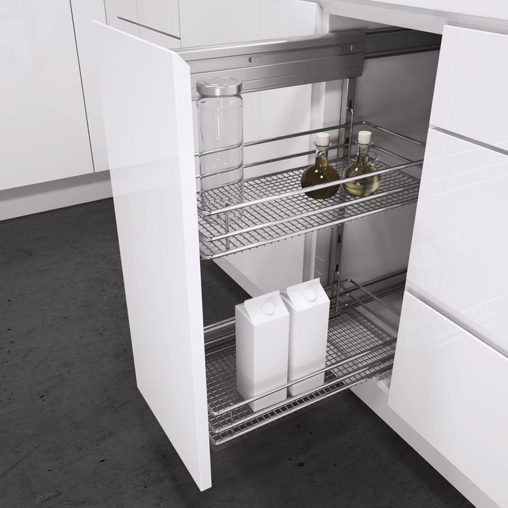 Side-Mounted Unit with Saphir Chromed Wire Baskets. This popular classic side mounted pull-out unit from Vauth-Sagel is a proven solution for base cabinets. So easy to use with full extension, soft close and able to mounted on right hand or left hand side to suit your set up. Height adjustable baskets and available for cabinet widths of 150mm, 200mm, 300mm and 400mm. Select from Saphir Chromed Wire baskets (shown), Premea solid base baskets or Premea Artline baskets.