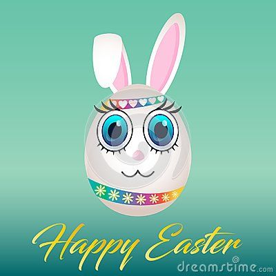 Happy Easter egg with bunny face on it. Big eyes and big ears. Ribbon with hearts on head and rainbow ribbon with flowers. Gold font word text with message on green background.
