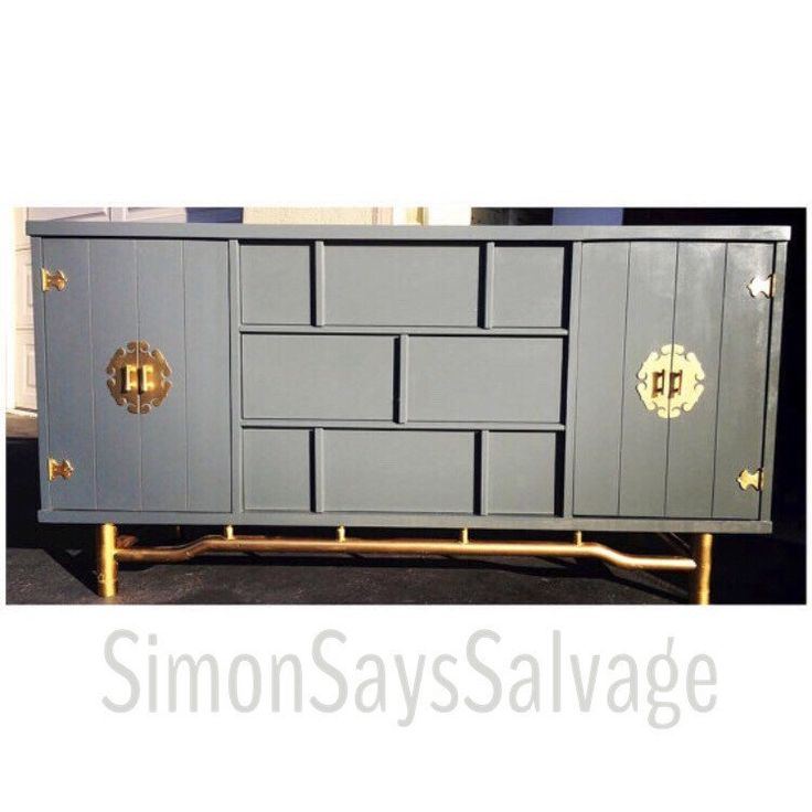 Mid Century Modern Asian Influenced Dresser Credenza, Buffet, Grey, Blue, Gold, TV Stand- PORTFOLIO by SimonSaysSalvage on Etsy https://www.etsy.com/listing/251415210/mid-century-modern-asian-influenced