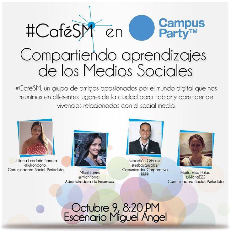 Estaremos con #CaféSM  en #CPCO6 en Medellín... Este miércoles 9 de octubre en Plaza Mayor