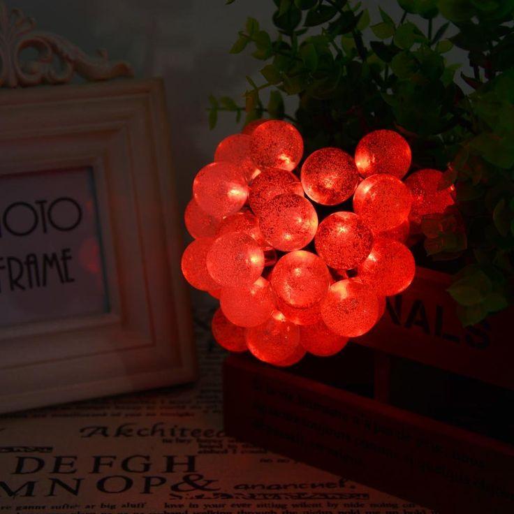 ledertek solar outdoor string lights 197ft 30 led red crystal ball solar powered globe fairy light decorationshalloween - Solar Halloween Decorations
