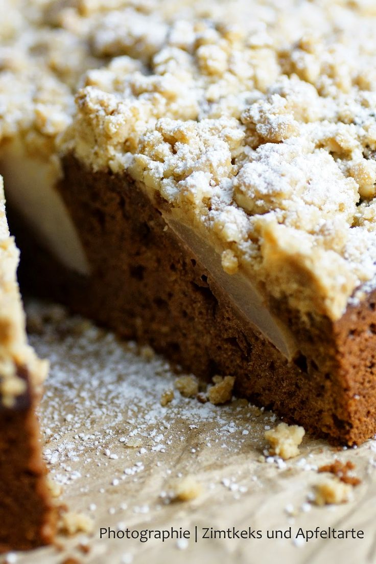 Kennt Ihr noch Birne Hélène? Schoko-Birnen-Kuchen mit Knusperstreuseln Chocolate-Pear-Cake with Streusel