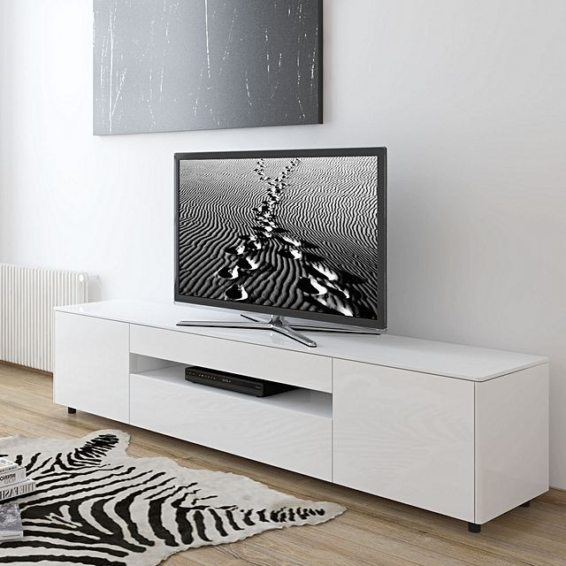 White Tv Media Unit Part - 23: SydneySide Granger Gloss White Entertainment Unit