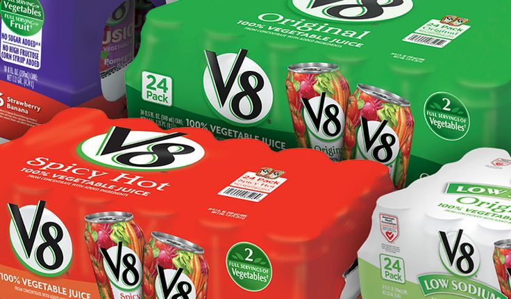 Club store packaging system for V8 using a color blocking pattern #packaging #design