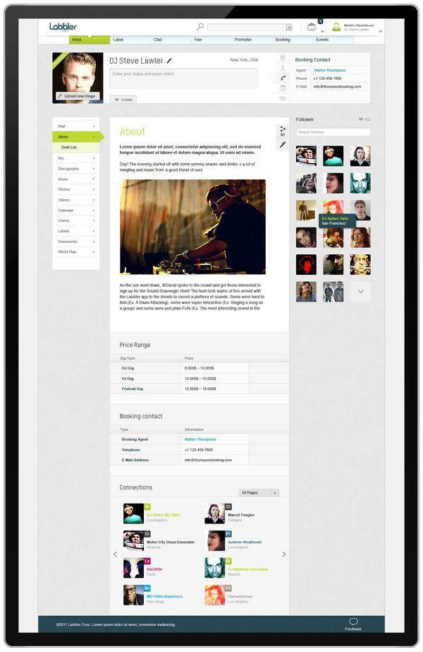 Labbler Music Community Interface by Martin Oberhäuser.  User Dashboard