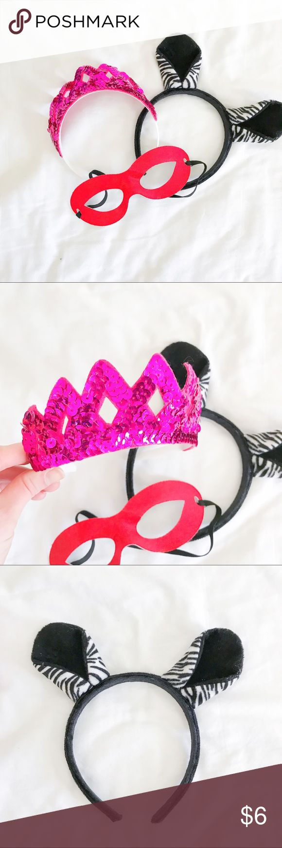 🔴5 FOR $25 Kids Dress Up Bundle Zebra ears, red superhero eye mask, and pink sequin crown all EUC! Costumes