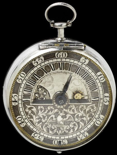 1690 London Silver watch with brass pair case covered with tortoiseshell inlaid with silver