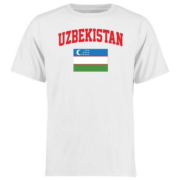 Uzbekistan Flag T-Shirt - White - $21.99