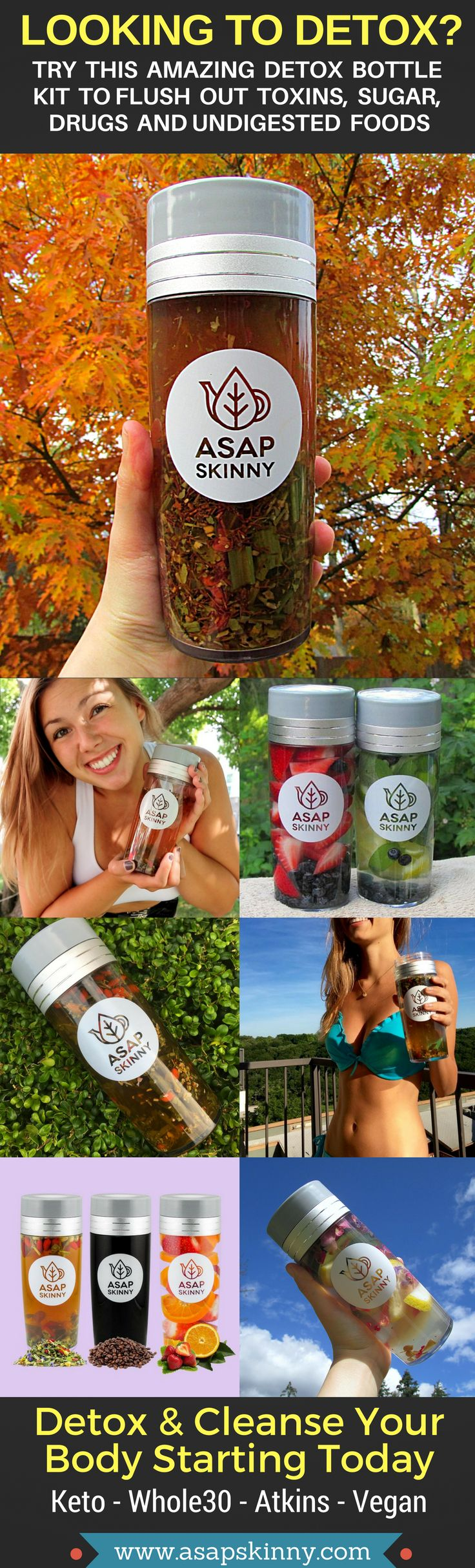 Detox & Cleanse With ASAPSKINNY! Kickstart Your New Healthy Lifestyle Fast & Easy. Our Versatile Detox Infuser Bottle Comes With a FREE Removable Mesh Strainer/Steeper. Perfect for Atkins - Keto - Whole30 - Vegan Lovers. Made For On-The-Go Busy People Who Are Looking To Get Fit and Healthy. Cleanse Anywhere, Anytime. Selling Out FAST! SHOP NOW ➡➡➡ www.asapskinny.com