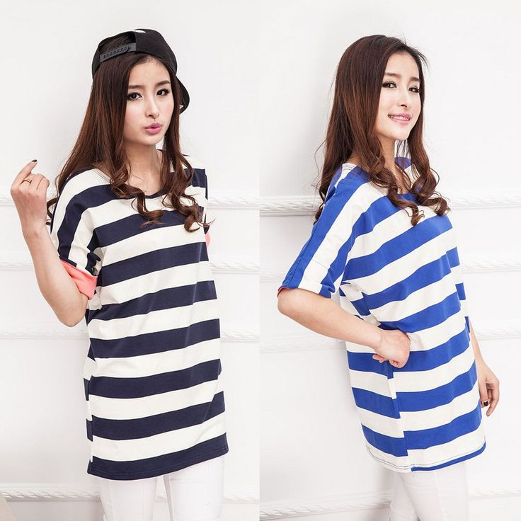 2015 Hot Women's Korean Fashion Stripe T-Shirt  Ladies Tee Tunic Tops Blouse #DL #PoloShirt #Casual