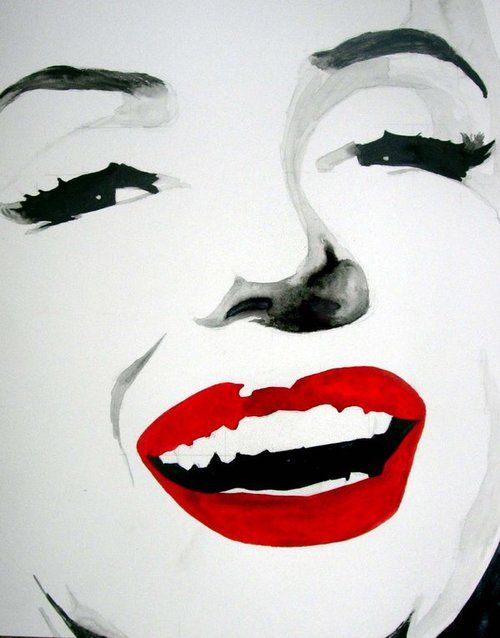 Marilyn Monroe Black And White Red Lips Pop Art