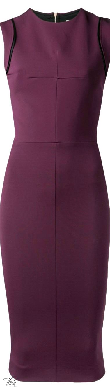 ♔ Victoria Beckham ● Aubergine fitted dress