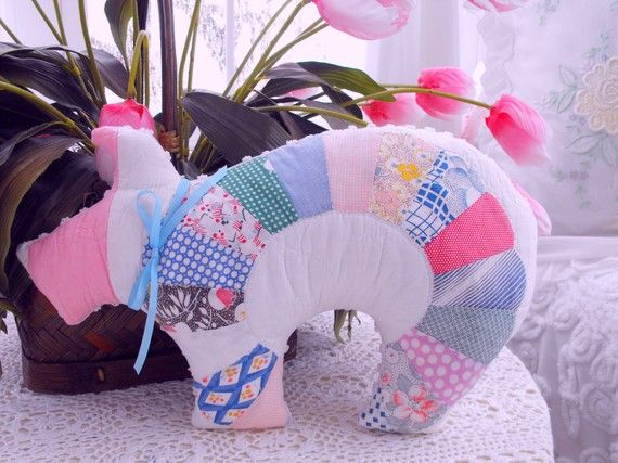 Spring Vintage patchwork and chenille Pig pillow by ThePinkPalace on Etsy - it is as sweet as can be #piggy