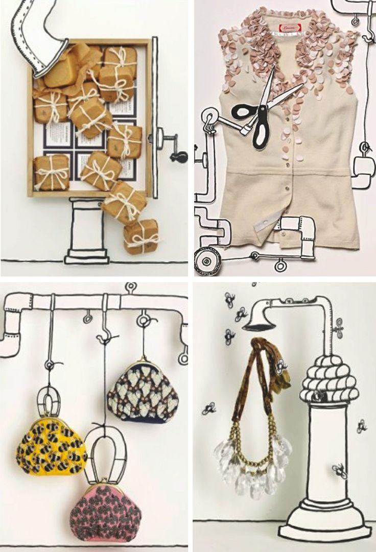 """Fantasietekening """"wondermachine"""" : Tekenen van buizen, kranen, wisselstukken combineren met """"textiel"""". Foto = resultaat"""