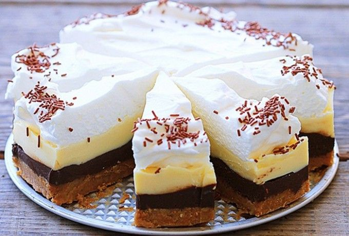 Fenomenální nepečený čokoládový dort | 240 mlvoda 100 gkr. cukr 1vanil cukr 400g suš mléko 250 gmáslo 100 gmásl sušenky 100 gmleté vlaš ořechy 6 PL mléko 100 g tm čokoláda 100 gbílá čokoláda 200 mlsmetana ke šleh 1 ztužovač Vodu a cukr rozpustit, odstavíme, sušené mléko.Vychladnout, máslo,vyšleháme, oddělíme 200g, k sušenkám,ořechy,mléko. Do formy, do chladu. Čokolády zvlášť rozpustíme. Zbylý krém na pol, bílou a tmav čokoládu, šleháme. tmavý krém, do chladu 1/2 hod a pak bílé, šlehačka