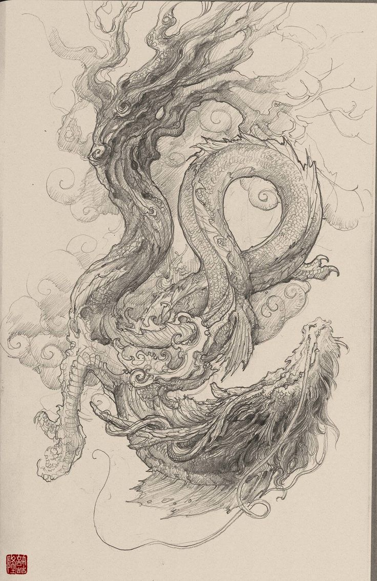 Chinese dragon mask drawing