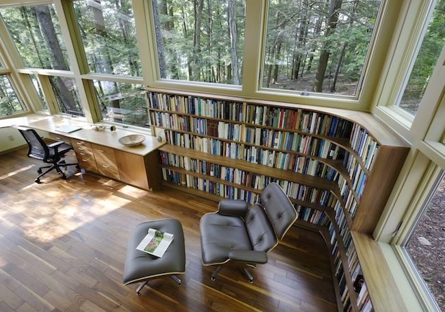 Windows, book, and hardwood. Into it.