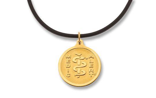 Gold-Filled Pendant & Gold-Plated Neoprene Necklet - Small Emblem      Australia MedicAlert Foundation  #medicalert #medical_ID #medical_necklace #safety