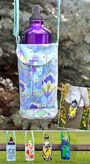 Walker's Water Bottle Sling Pattern in PDF from WhistlePig Creek l includes two pockets for cellphone or keys and insulated material to keep things cold