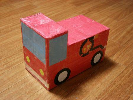 牛乳パックで子どもの消防車を作ってみました! - 暮らしニスタ