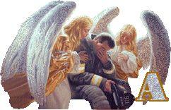 Alfabeto de ángeles de la guarda reconfortando a un bombero.