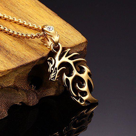 Ostan – Acero Inoxidable Dorado Collar para Hombre con Colgante Dragón – nueva moda joyería | Joyería online, joyas de Plata y Oro.