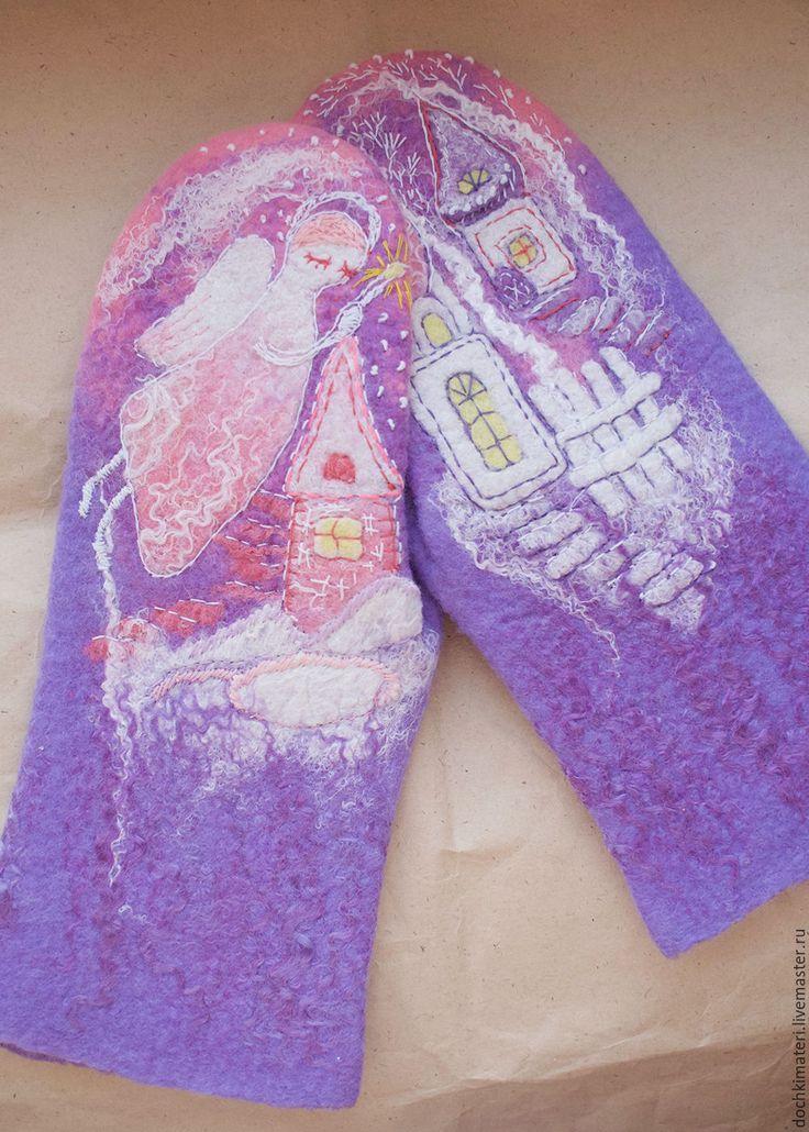 """Купить Валяные рукавички """"Город ангелов"""" - сиреневый, ангел, ангелы, романтика, романтический стиль, рождество"""