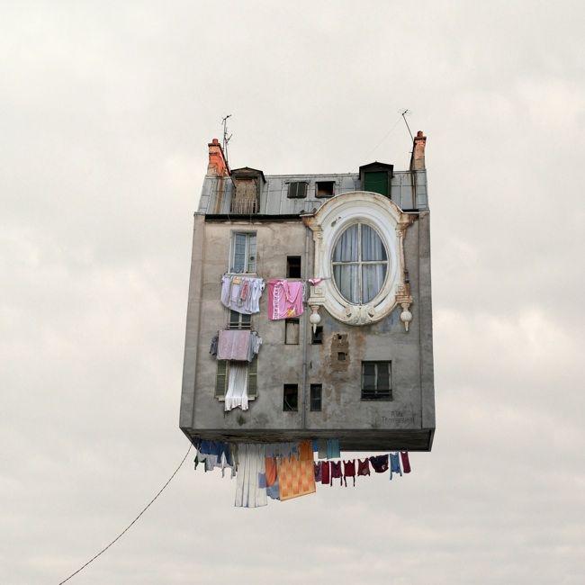 Laurent Chéhère - Flying Houses - Le linge qui sèche