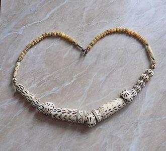 Винтажное африканское ожерелье из кости!  Ручная работа из МАЛИ!