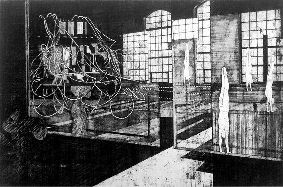 Obsesja, Aleksandra Błaszczyk, akwaforta, 30 x 42 cm