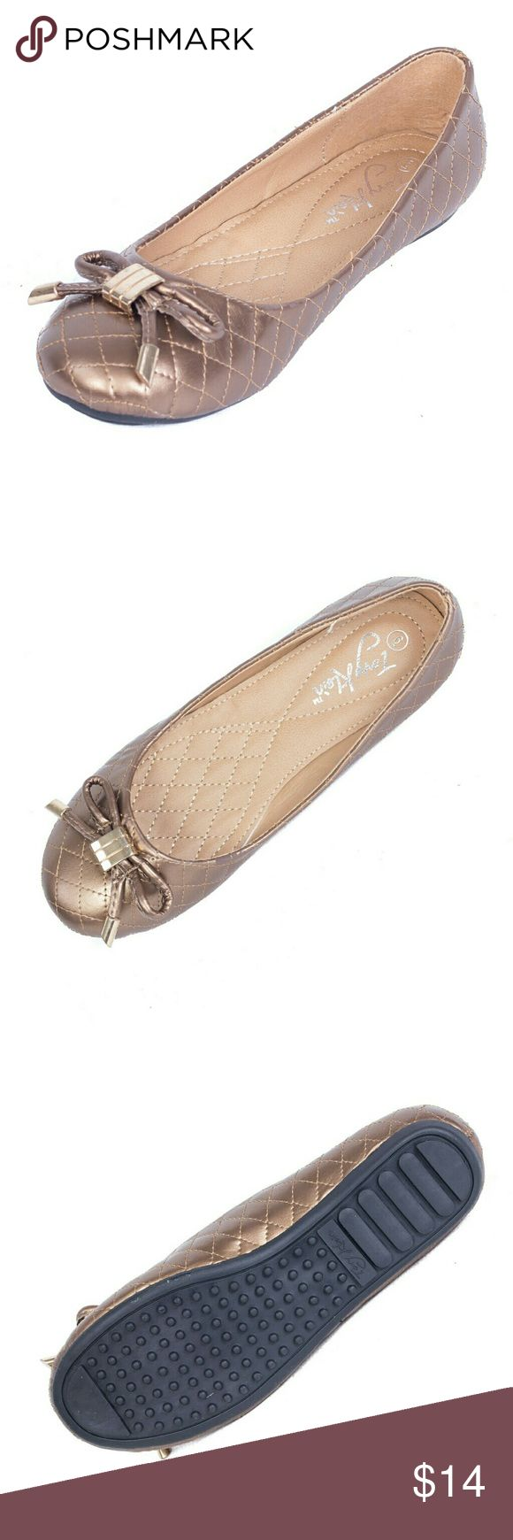 """Women Ballerina Flats with Bow,  b-1608, Bronze Brand new Tory Klein woman quilted bronze-colored ballerina flats shoes with a pretty bow in the front. Soft cushioned sole, very comfortable. Bubbled bottom sole for extra traction. A true statement in ladies shoes fashion! Measurements: larger sizes run small. Size 8 measures 9.5 inches, sz 8.5 - 9 3/4"""", sz 9 - 10"""", sz 9.5 - 10 1/4"""", sz 10 - 10.5"""", all half sizes are in 1/4"""" increments of each other. Tory K  Shoes Flats & Loafers"""
