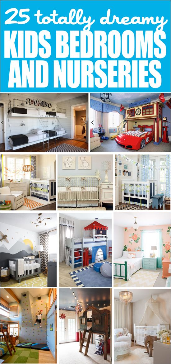 Needs kids bedroom ideas? Check out these 25 totally dreamy kids rooms and nurseries!! LOVE these idea!