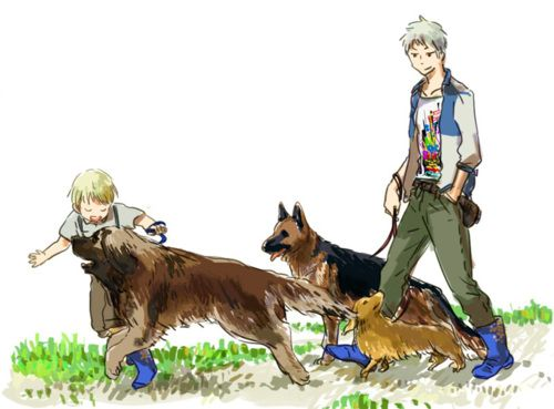 Little Germany and Prussia with their three dogs~ (I think they're named Blackie, Berlitz, and Aster?) :D