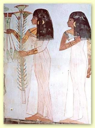 Ancient Egypt.  Both of the women are wearing sheath dresses.  Both are wearing earrings and armlets.  They are also both wearing wigs.