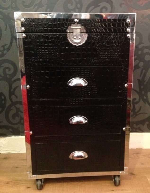 Crocodile Leather Effect Stainless Steel Storage Cabinet/Chest/trunk