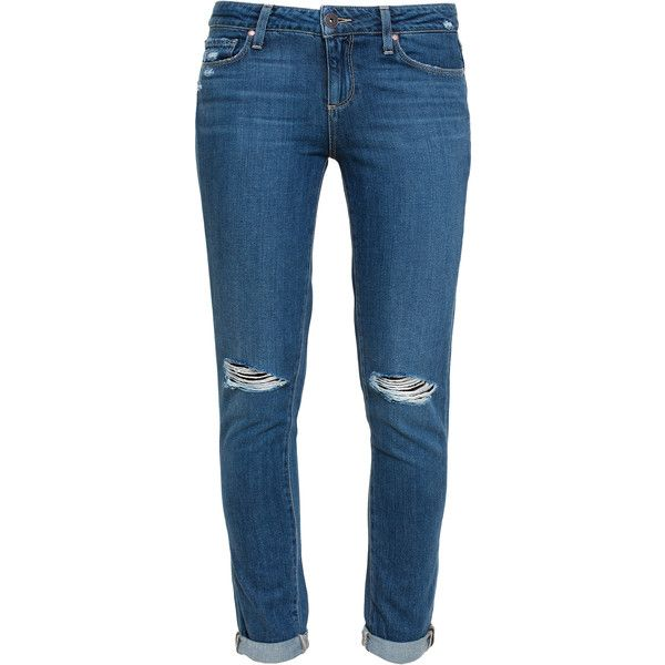PAIGE DENIM Quinley Distressed Skinny Jeans ($325) ❤ liked on Polyvore featuring jeans, torn skinny jeans, zipper jeans, destroyed jeans, distressing jeans and ripped jeans