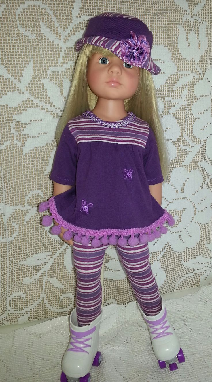 Doll Clothes For Sale, Katie Happy Kidz Gotz in my purple stretch Mini Dress with gathering at yoke, pompom hemline and embroidered flowers. Lined Hat adorned with a Salstuff hand-made organza rose and stripy tights.