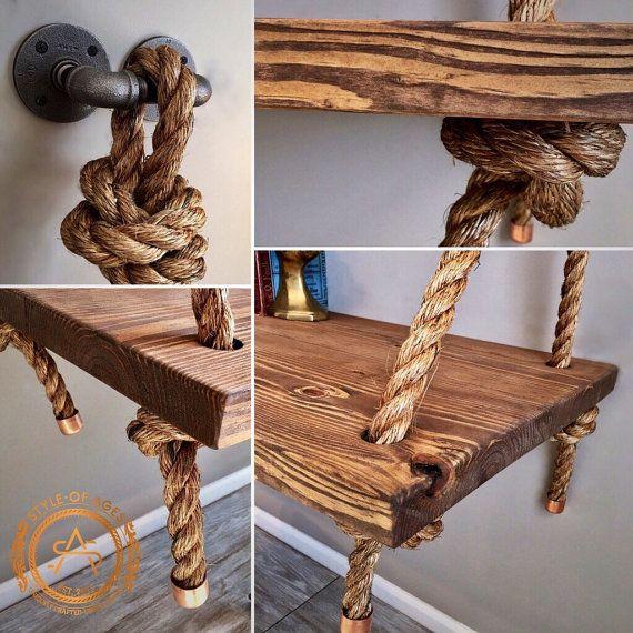 Nueva Industrial cuerda y tubo suspendido madera por StyleOfAges