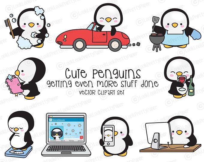 Haut de gamme Vector Clipart - Kawaii Penguin - pingouin mignon planification Clipart - encore plus les pingouins - téléchargement immédiat - Kawaii Clipart