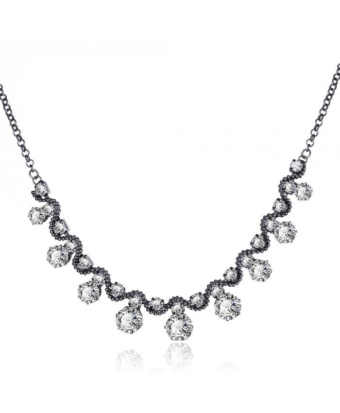 Charm Vintage Pendant Chain Link White Crystal Diamond Necklace
