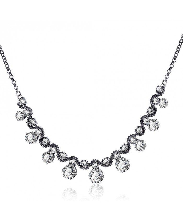 Charm Vintage Pendant Chain Link White Crystal Diamond Necklace