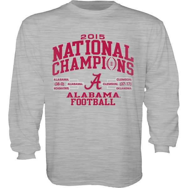 Alabama Crimson Tide Blue 84 Youth College Football Playoff 2015 National Champions Bracket Long Sleeve T-Shirt - Gray - $21.99